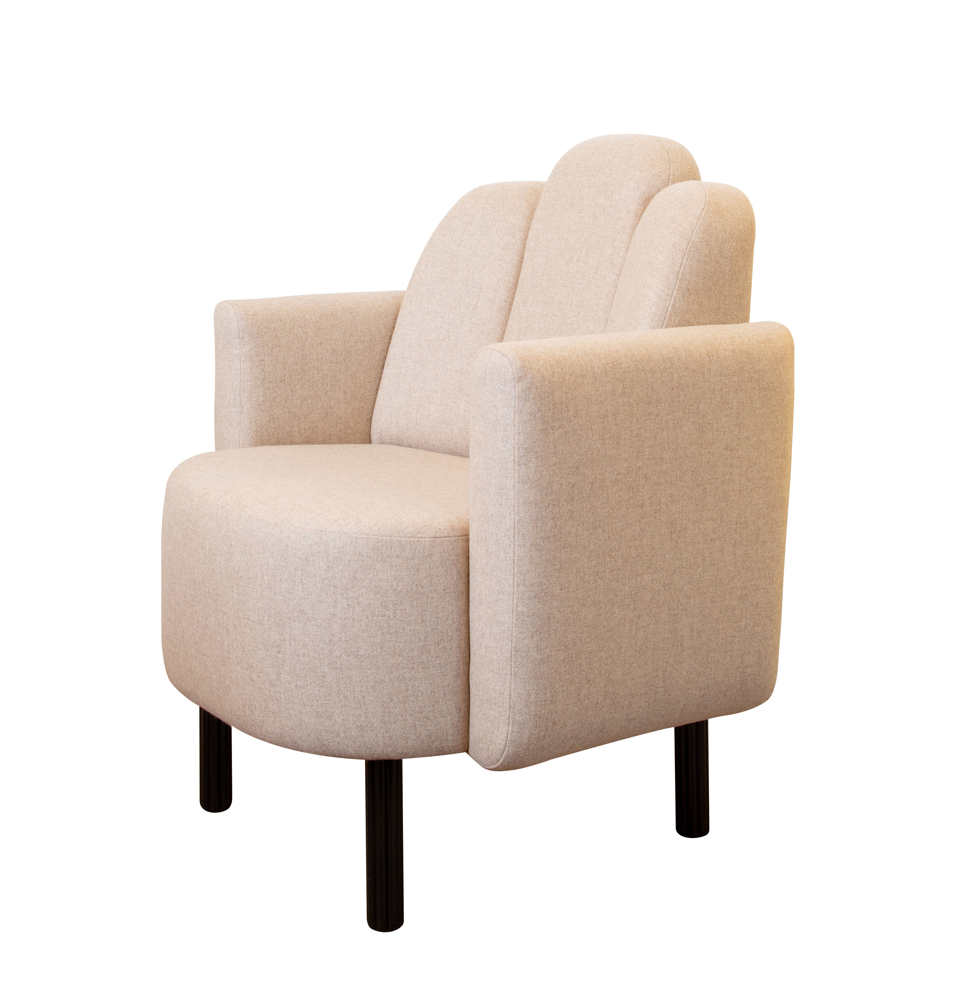 Furniture - Armchairs - Martine Padded armchair - / Fabric by Maison Sarah Lavoine - Beige - Flannel fabric, Foam, Lacquered steel, Wood