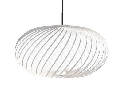 Spring Medium LED Pendelleuchte / Ø 79 x H 45 cm - Flexible Stahlbänder - Tom Dixon - Weiß