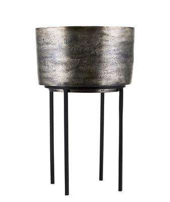 Pot De Fleurs Kazi House Doctor Argent Oxyde Noir H 54 X O 33 5 Made In Design