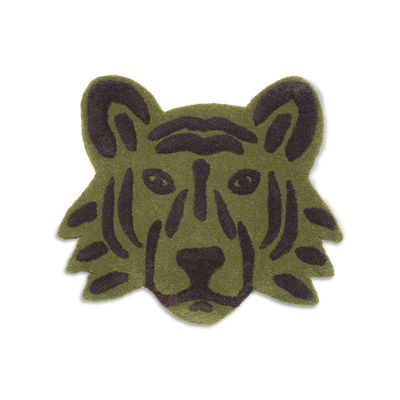 Decoration - Children's Home Accessories - Tigre Rug - / Wall decoration - 66 x 57 cm by Ferm Living - Tiger / Khaki Green - New-zealand wool