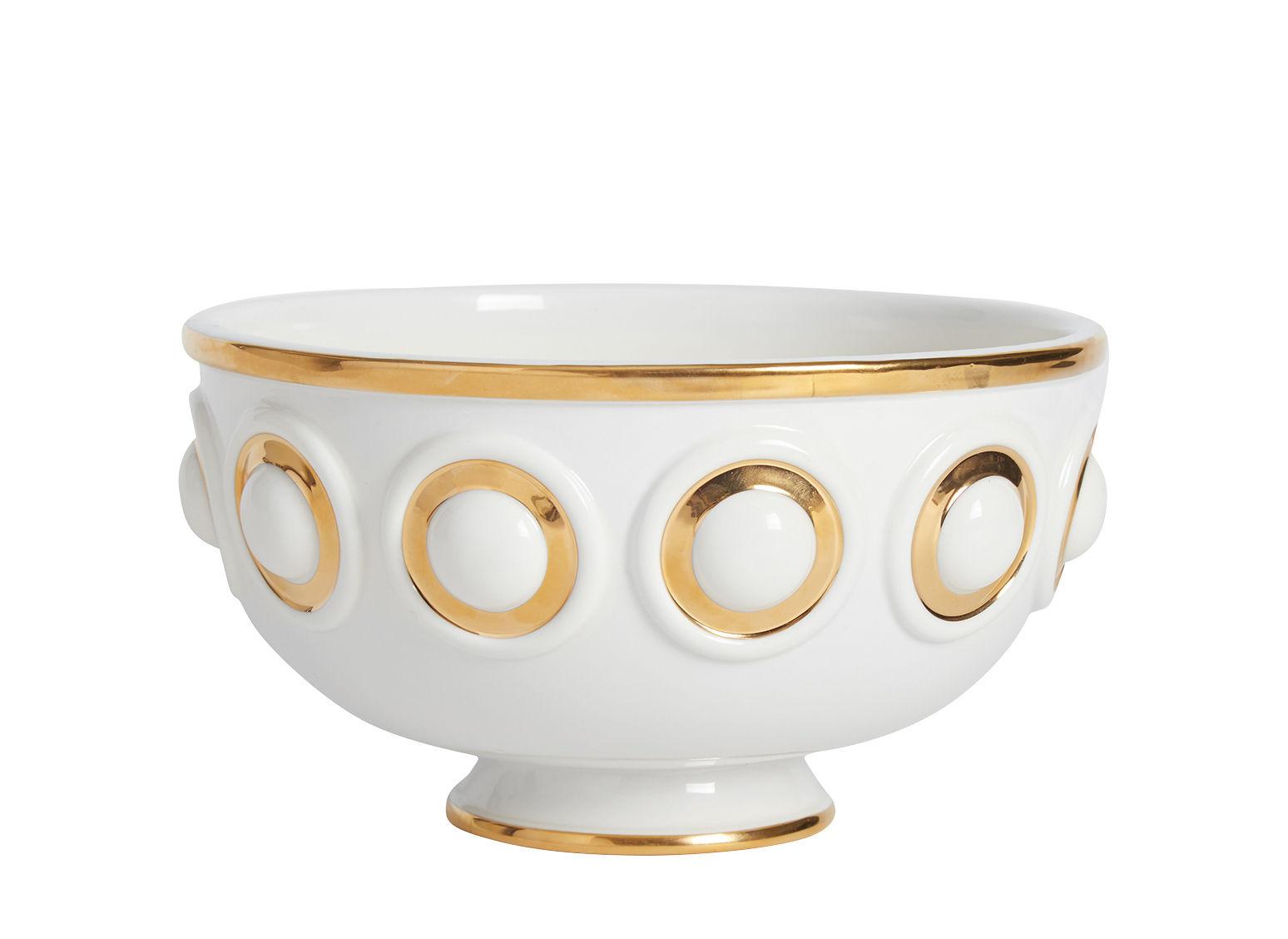 Arts de la table - Saladiers, coupes et bols - Saladier Futura Centerpiece / Porcelaine & or - Ø 24 cm - Jonathan Adler - Blanc & doré - Or, Porcelaine