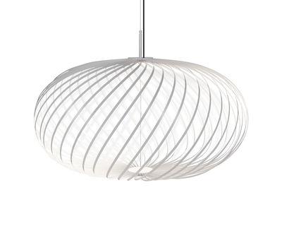 Illuminazione - Lampadari - Sospensione Spring Medium LED - / Ø 79 x H 45 cm - Strisce d'acciaio modulabili di Tom Dixon - Bianco - Acciaio inossidabile