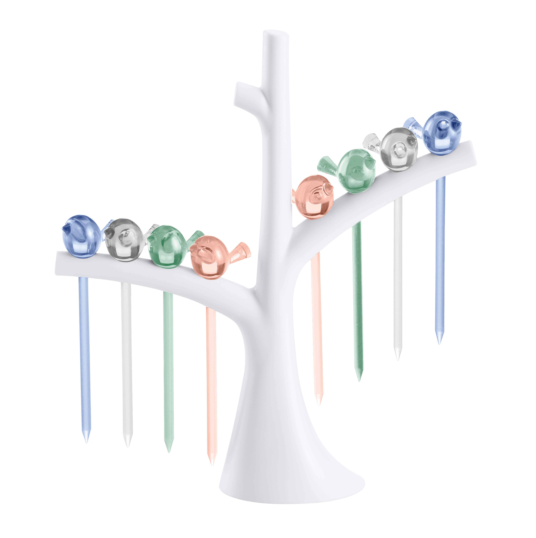 Tavola - Accessori  - Stecchini per aperitivi PI:P - / Set da 8 con supporto-albero di Koziol - Blu marine / Cristallo / Eucalipto / Rosa quarzo - Plastica