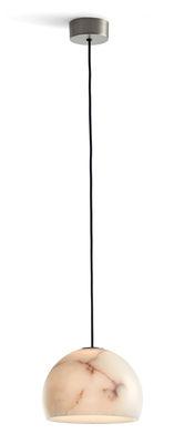 Luminaire - Suspensions - Suspension Neil LED / Ø 21 cm - Albâtre - Carpyen - Nickel / Albâtre blanc - Albâtre