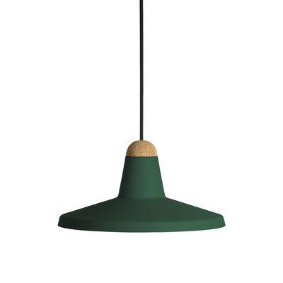 Luminaire - Suspensions - Suspension Tao / Ø 30 cm - Métal & liège - EASY LIGHT by Carpyen - Vert foncé - Liège, Métal laqué
