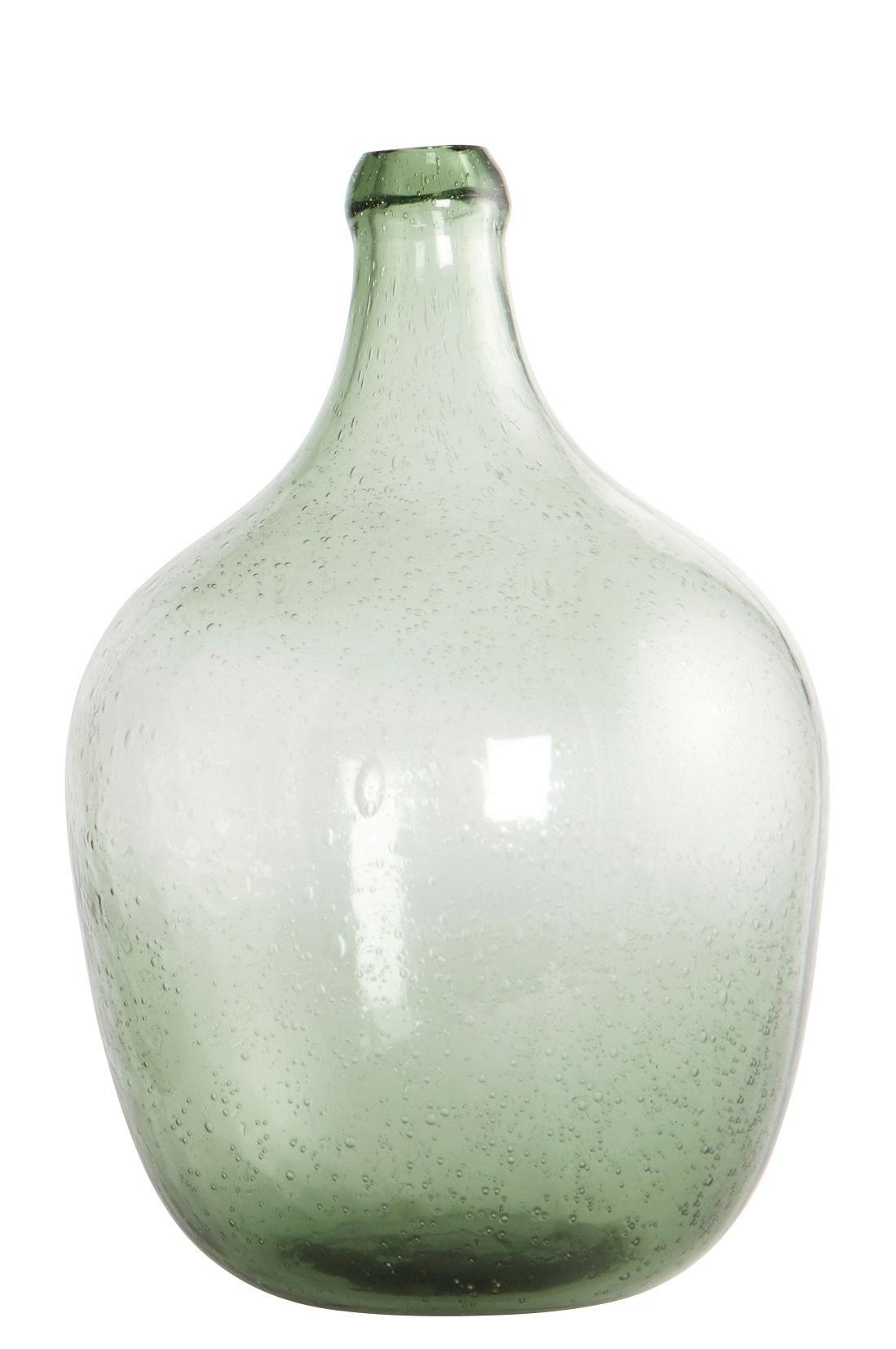 Interni - Vasi - Vaso per un solo fiore Bottle / Ø 19,5 x H 28,5 cm - House Doctor - Verde chiaro - Vetro soffiato a bocca