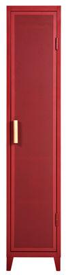 Möbel - Aufbewahrungsmöbel - Vestiaire Penderie Ablage / 1 Tür - Lochblech & Holz - Tolix - Kleiderschrank / rot & Eiche - Lackierter recycelter Stahl, massive Eiche