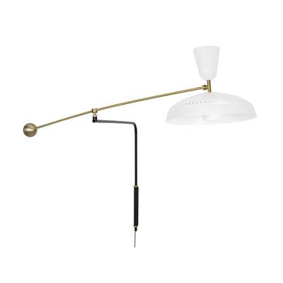 Illuminazione - Lampade da parete - Applique con presa G1 - / Riedizione 1951, Pierre Guariche - L 115 cm di SAMMODE STUDIO - Bianco opaco - Alluminio, Ottone