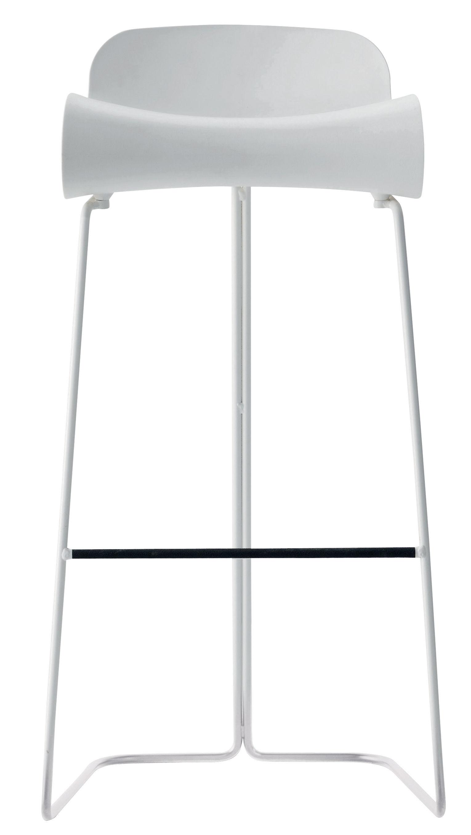 Möbel - Barhocker - BCN Barhocker - Kristalia - weiß - gefirnister Stahl, Plastik mit PBT