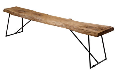Furniture - Benches - Old Times Bench - / L 190 cm - Wood by Zeus - Natural wood / Black base - Phosphated steel, Solid olive tree