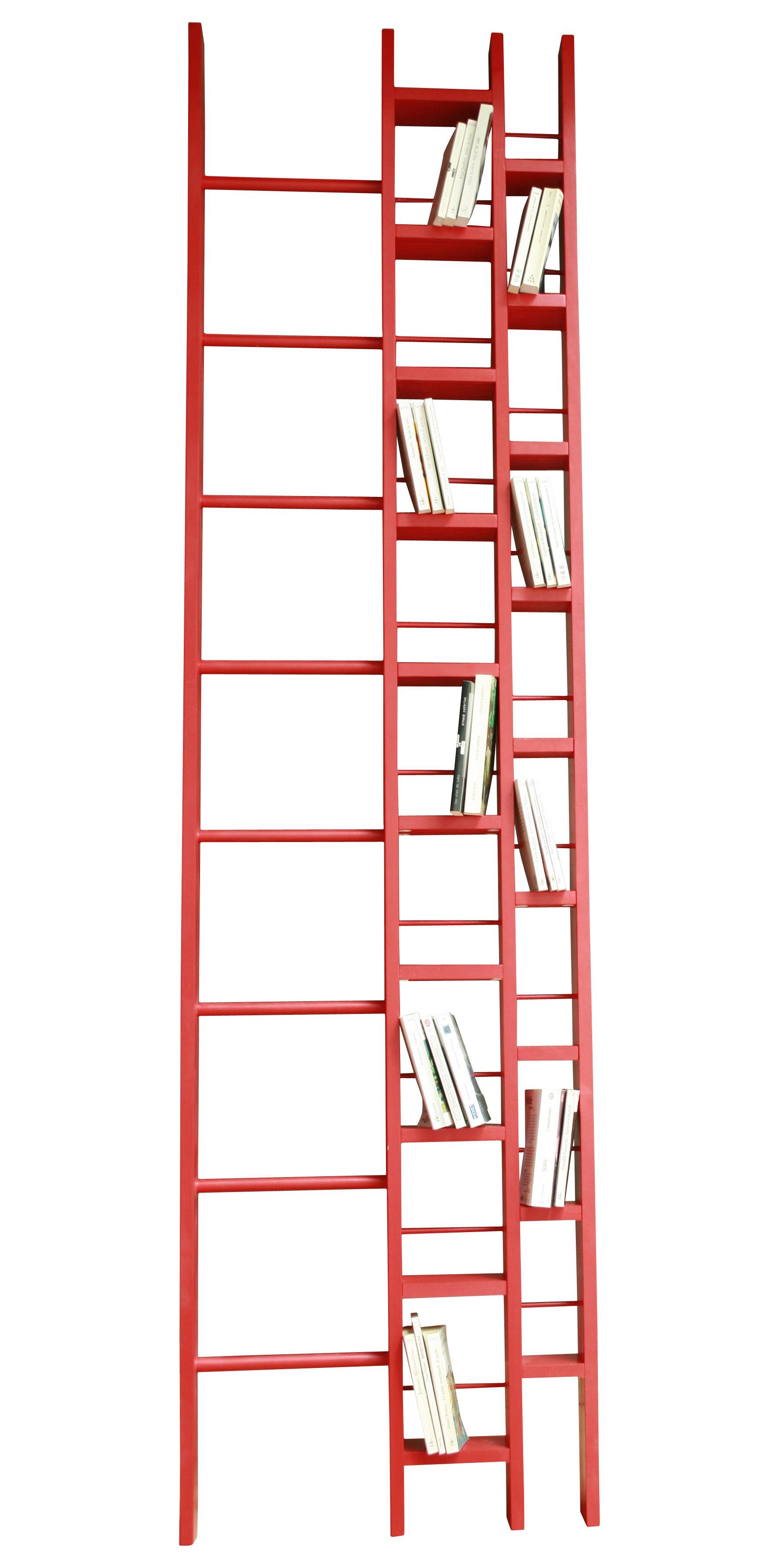 Mobilier - Etagères & bibliothèques - Bibliothèque Hô / L 64 x H 240 cm - La Corbeille - Rouge - Hêtre massif laqué