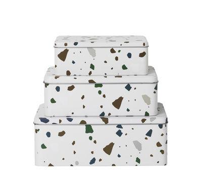 Déco - Pour les enfants - Boîte Tin / Set de 3 - Métal effet Terrazzo - Ferm Living - Terrazzo / Gris - Fer blanc
