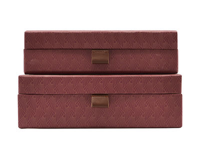 Decoration - Decorative Boxes - Ray Box - / Set of 2 by House Doctor - Dark red - Cardboard, Leather