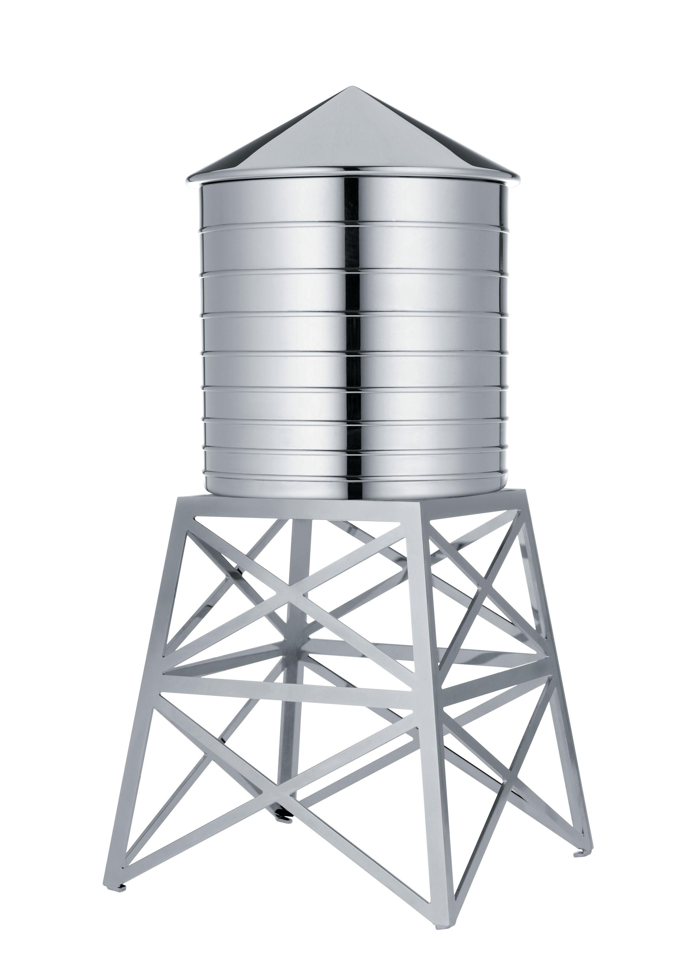 Kitchenware - Kitchen Storage Jars - Water Tower Box by Alessi - Steel - Stainless steel