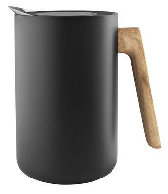 Tavola - Caffè - Brocca isotermica Nordic Kitchen - / 1 L - Acciaio & rovere di Eva Solo - Nero opaco / Manico rovere - Acciaio inossidabile, Materiale plastico, Rovere