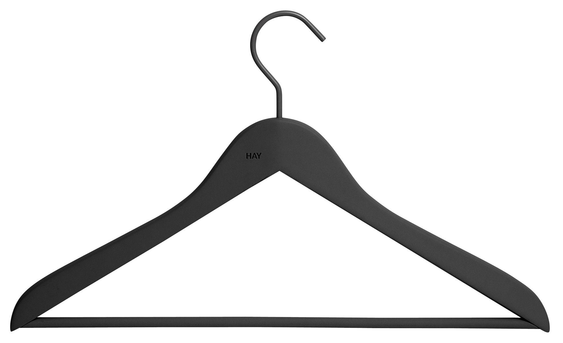 Déco - Portemanteaux et patères - Cintre Soft Coat Fin / Con barra - Set da 4 - Hay - Noir - Bois, Caoutchouc