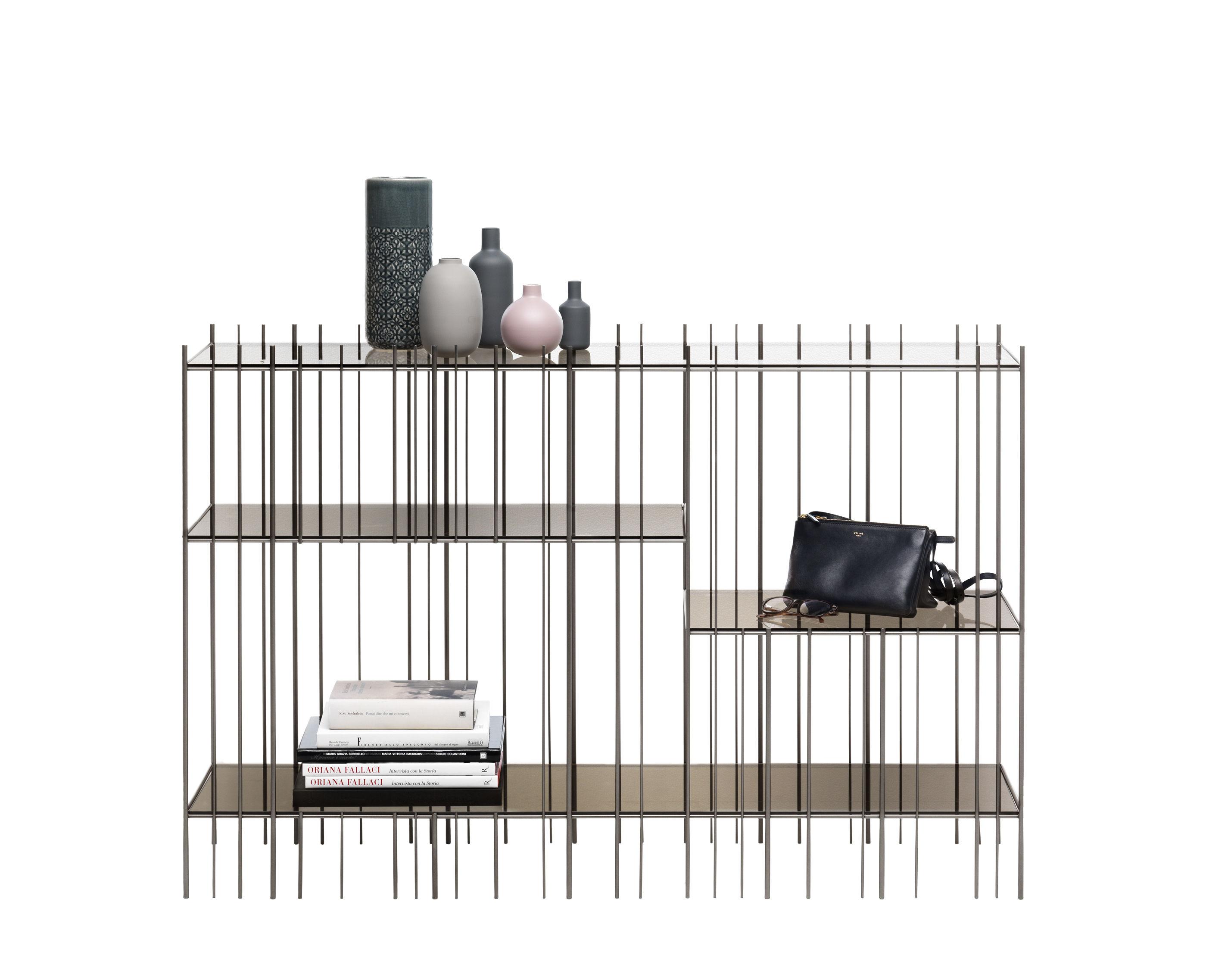Mobilier - Etagères & bibliothèques - Console Metrica / 125 x 84 cm - Acier & verre - Mogg - Bruni - Acier, Verre