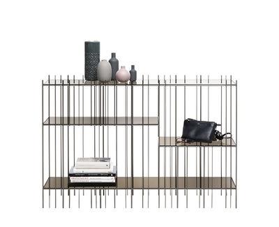 Image of Console: Metrica - / 125 x 84 cm - Acciaio & vetro di Mogg - Marrone/Metallo - Metallo/Vetro