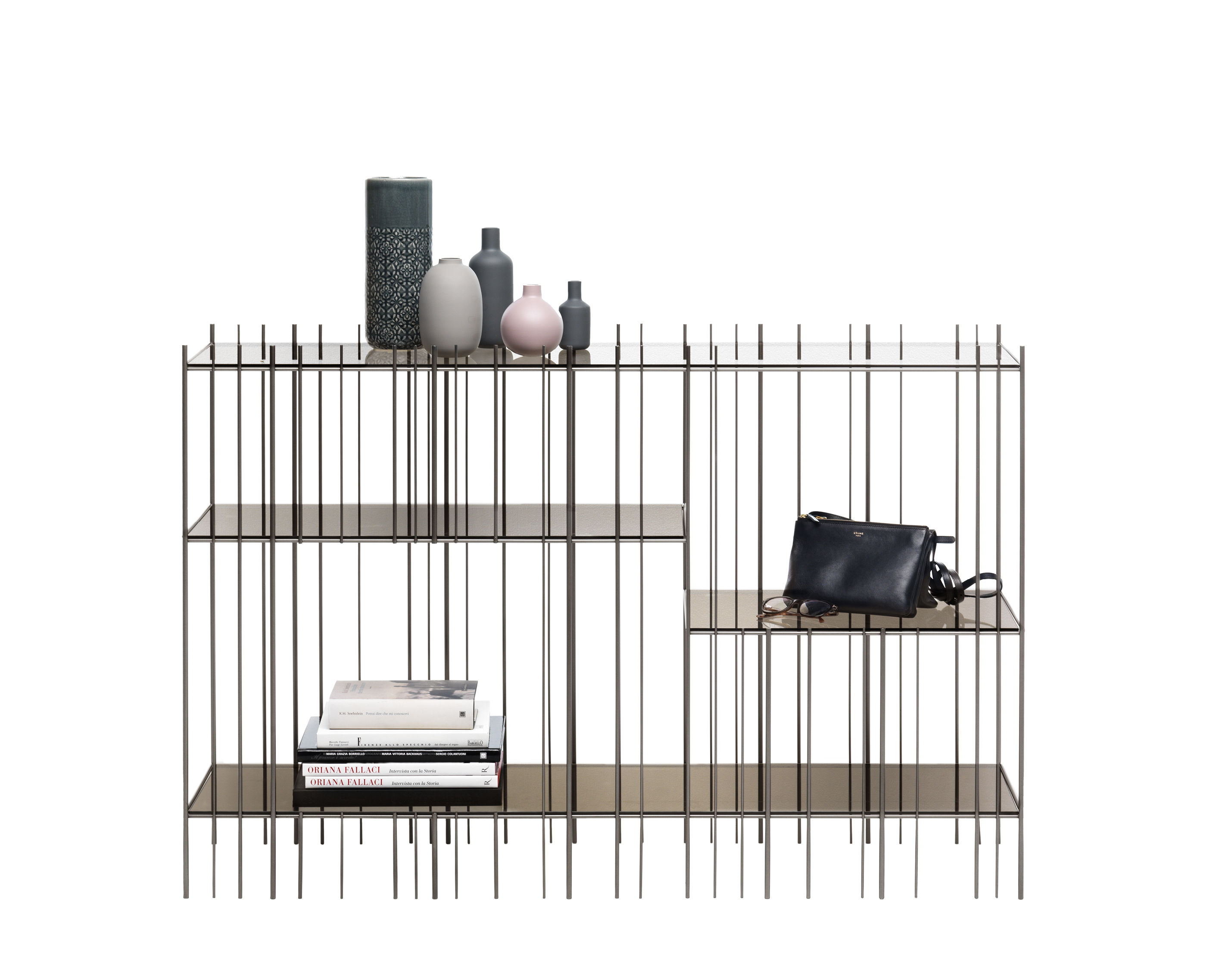 Furniture - Bookcases & Bookshelves - Metrica Console - / 125 x 84 cm - Steel & glass by Mogg - Brushed - Glass, Steel