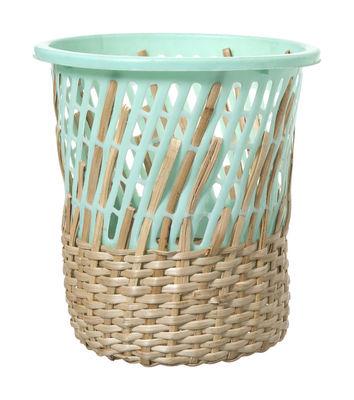 Mobilier - Compléments d'ameublement - Corbeille à papier Bow Bin - Areaware - Turquoise - H 26,7 cm - Matière plastique, Rotin