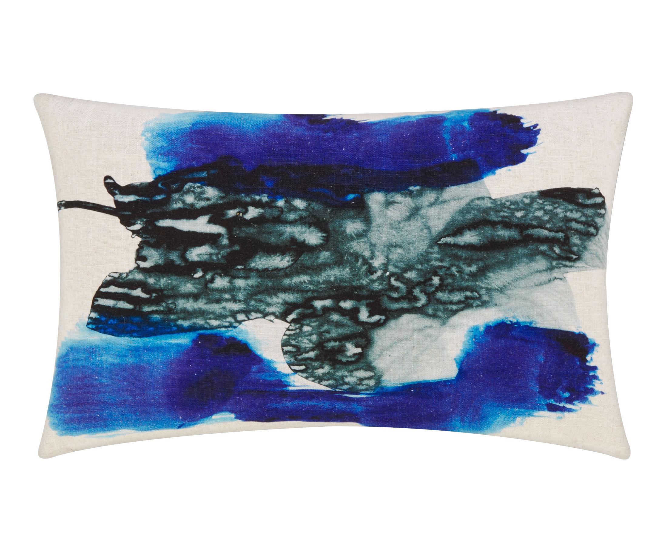 Decoration - Cushions & Poufs - Blot Cushion - / 40 x 60 cm by Tom Dixon - 40 x 60 cm / Blue - Linen, Plumes canard, Viscose