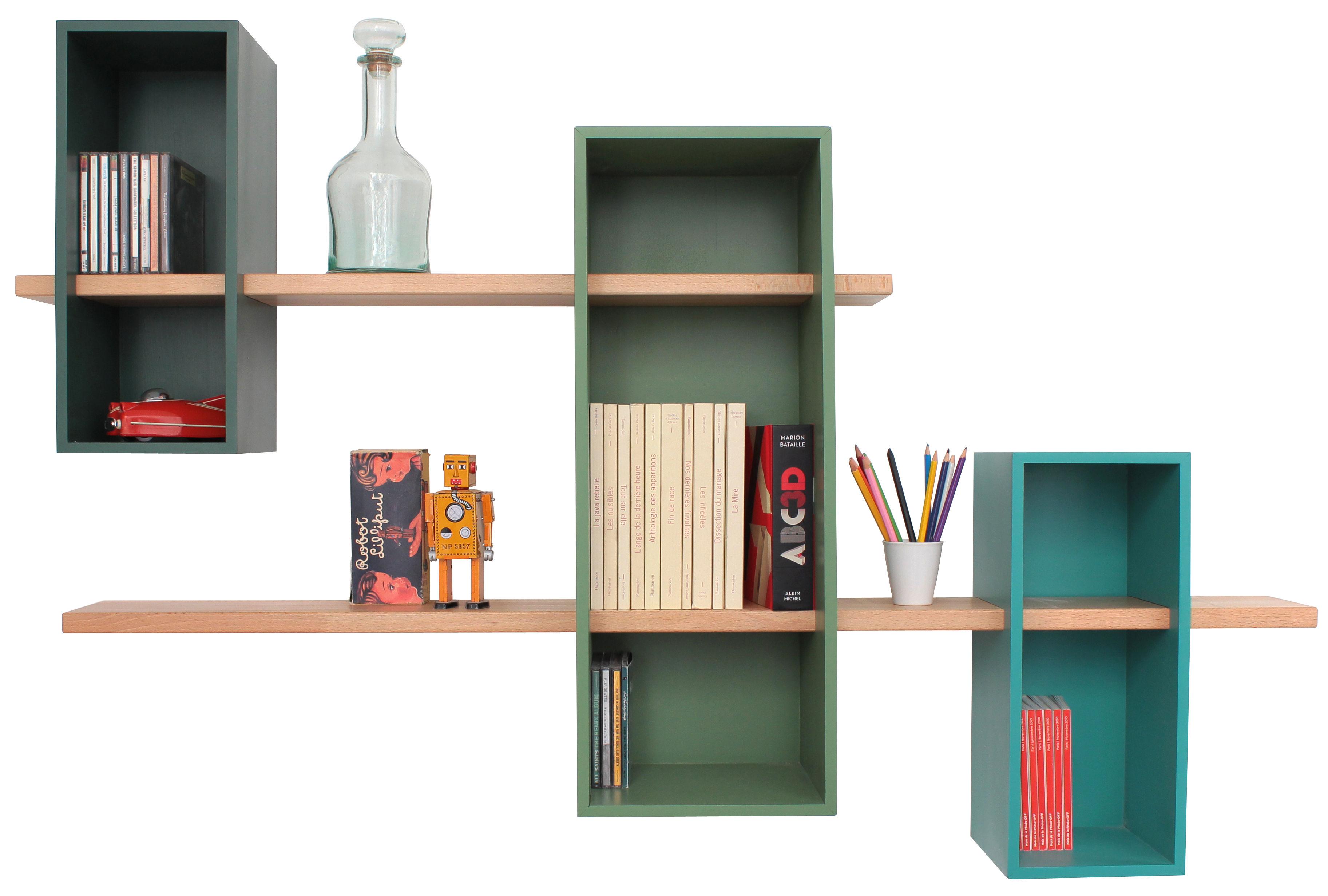 Mobilier - Etagères & bibliothèques - Etagère Max XL / Double - 3 caissons + 2 étageres - Compagnie - Vert pin / Vert reseda / Turquoise 6033 - Hêtre massif, MDF peint