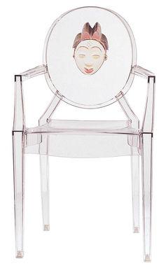 Mobilier - Chaises, fauteuils de salle à manger - Fauteuil empilable Louis Ghost personnalisé / Polycarbonate - Kartell - Masque Africain (tribu Punu) - Polycarbonate