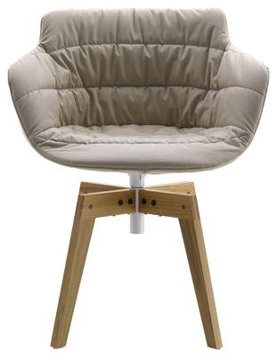 Mobilier - Chaises, fauteuils de salle à manger - Fauteuil pivotant Flow textile / 4 pieds droits chêne - MDF Italia - Tissu beige Londra / Piètement en chêne - Chêne massif, Polyuréthane recouvert de tissu