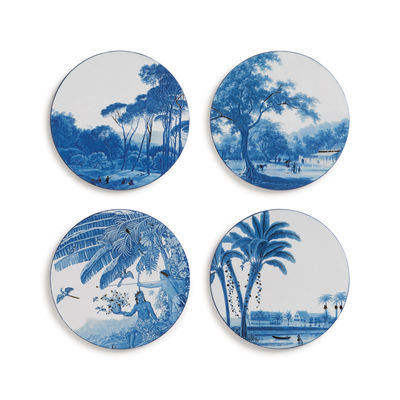 Tischkultur - Topfuntersetzer - Landscape Glasuntersetzer / 4er Set - Kork - & klevering - Blau & weiß - Kork