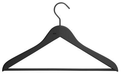 Dekoration - Garderoben und Kleiderhaken - Soft Coat Fin Kleiderbügel / 4-er Set - Hay - Schwarz - Holz, Kautschuk