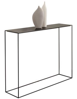 Möbel - Konsole - Slim Irony Konsole / L 124 cm - Zeus - Ablageplatte schwarz phosphatiert / Gestell schwarzbraun - Stahl
