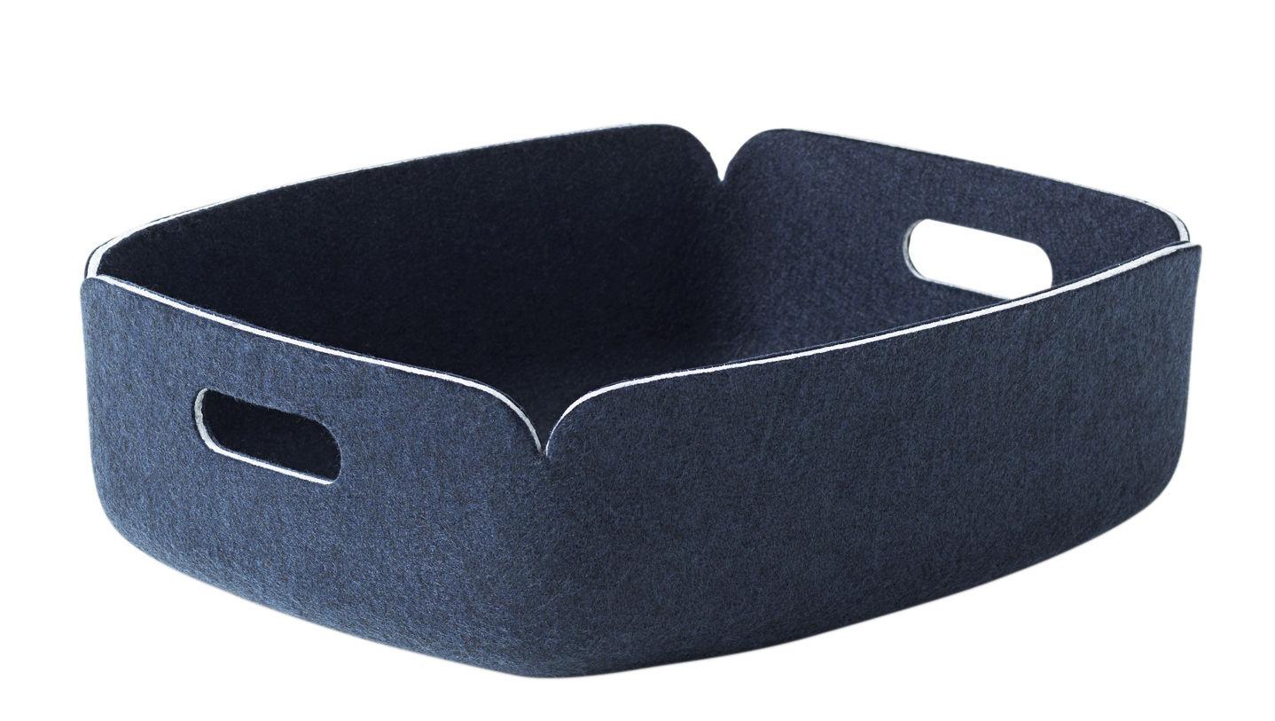 Accessoires - Accessoires für das Büro - Restore Korb / Filz - 31 x 40 cm - Muuto - Nachtblau - Filz, recycelt