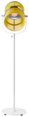 Luminaire - Lampadaires - Lampadaire solaire La Lampe Paris LED / Sans fil - Dock USB - Maiori - Citron / Pied blanc - Aluminium peint, Tissu