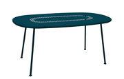 Table ovale Lorette 160 x 90 cm Métal perforé Fermob bleu acapulco en métal