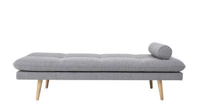 Furniture - Sofas - Asher Lounge chair - / Fabric & wood - 190 x 80 cm by Bloomingville - Light grey / Oak legs - Foam, Oak, Terrycloth