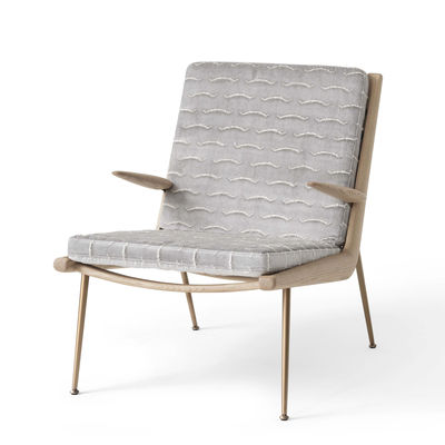 Furniture - Armchairs - Boomerang HM2 (1956) Padded armchair - / With armrests - Oak by &tradition - Silver grey (Nouvelles Vagues textured velvet) - Brass, Fabric, HR foam, Solid oak
