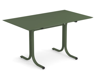 Outdoor - Garden Tables - System Rectangular table - / 80 x 140 cm by Emu - Military green - Galvanised painted steel