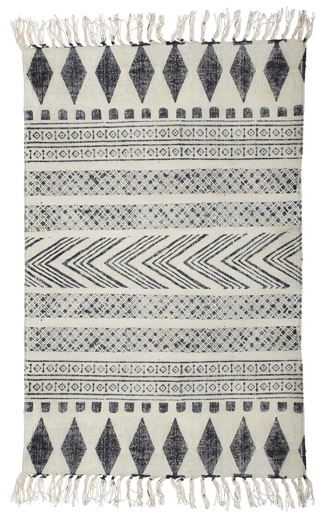 Decoration - Rugs - Block Rug - /90 x 200 cm by House Doctor - Block / grey & black - Cotton