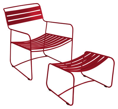 Furniture - Armchairs - Surprising Lounger Set armchair & footrest - With footrest by Fermob - Chili - Steel