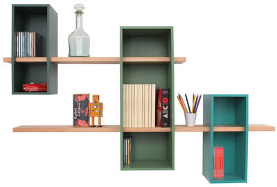 Furniture - Bookcases & Bookshelves - Max XL Shelf - Double - 3 boxes + 2 shelves by Compagnie - Pin green / Reseda green / Turquoise - Natural beechwood, Painted MDF