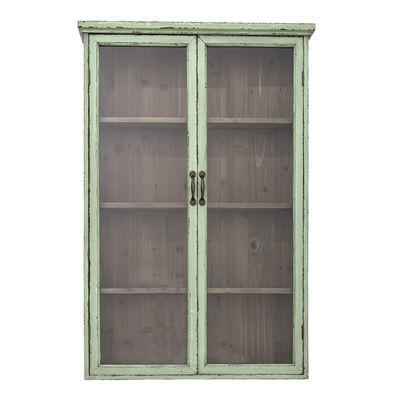Furniture - Bookcases & Bookshelves - Shelf - / Wall storage - L 81 x H 122 cm / Wood & glass by Bloomingville - Patina green - Fir-tree, Glass, Iron, MDF