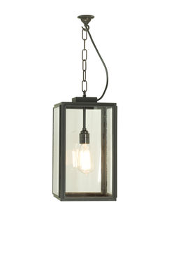 Illuminazione - Lampadari - Sospensione Square Small - / H 40 cm - Per l'esterno di Original BTC - H 40 cm / nero & trasparente - Laiton vielli, Vetro