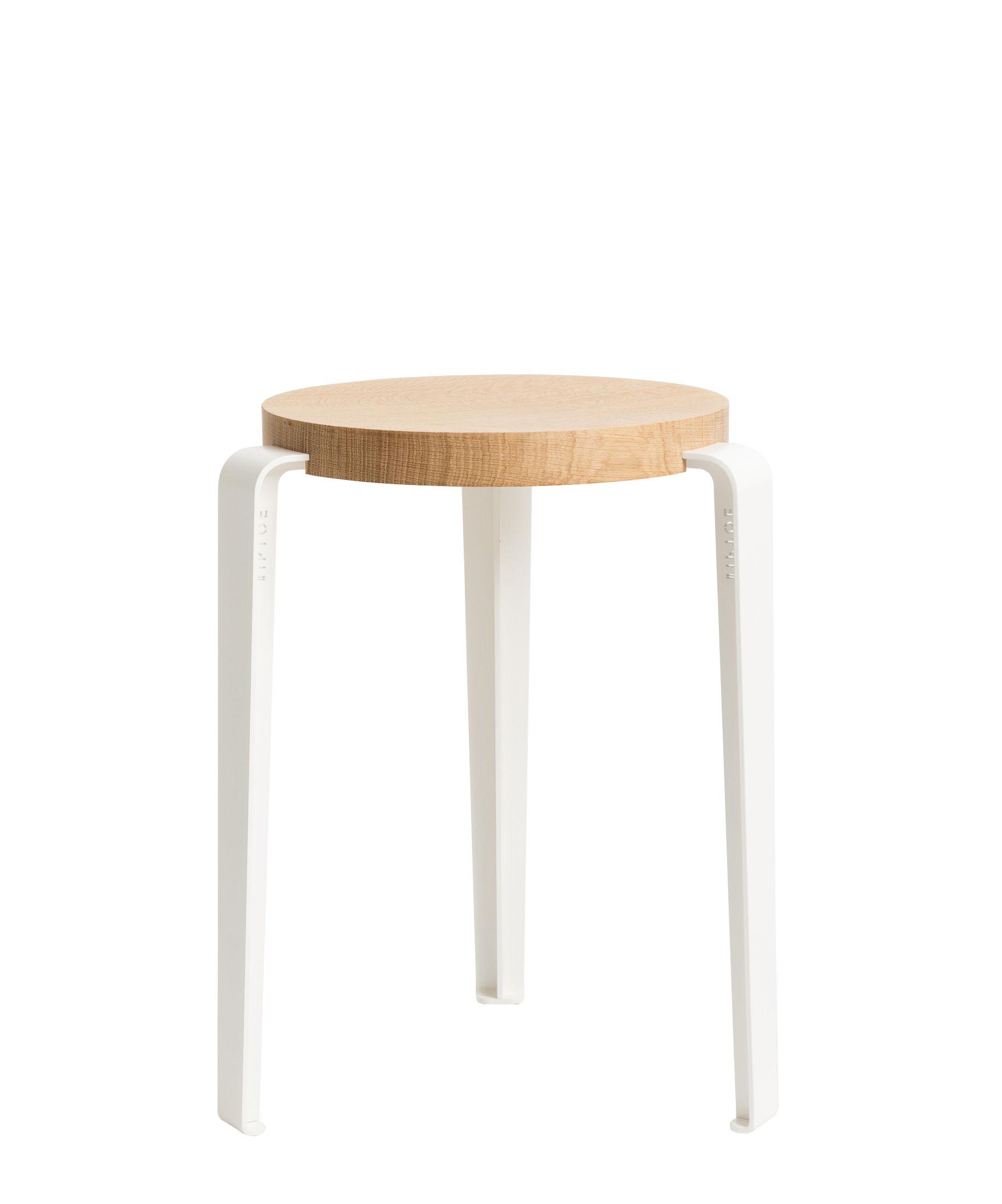 Furniture - Stools - Lou Stackable stool - / H 45 cm - Steel & oak by TipToe - Cloud white / Oak - Powder coated steel, Solid oak