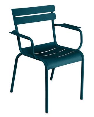Outdoor - Gartenstühle - Luxembourg Stapelbarer Sessel / Aluminium - Fermob - Acapulcoblau - lackiertes Aluminium