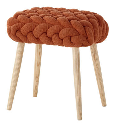 Furniture - Stools - Knitted Stool - 45 x 35 cm by Gan - Orange / Ash wood - Ashwood, New wool