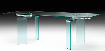 Table à rallonge Ray Plus / L 200 à 304 cm - FIAM acier,transparent en verre