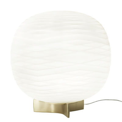 Lighting - Table Lamps - Gem Table lamp - / Blown glass by Foscarini - White / Gold - Aluminium, Blown glass