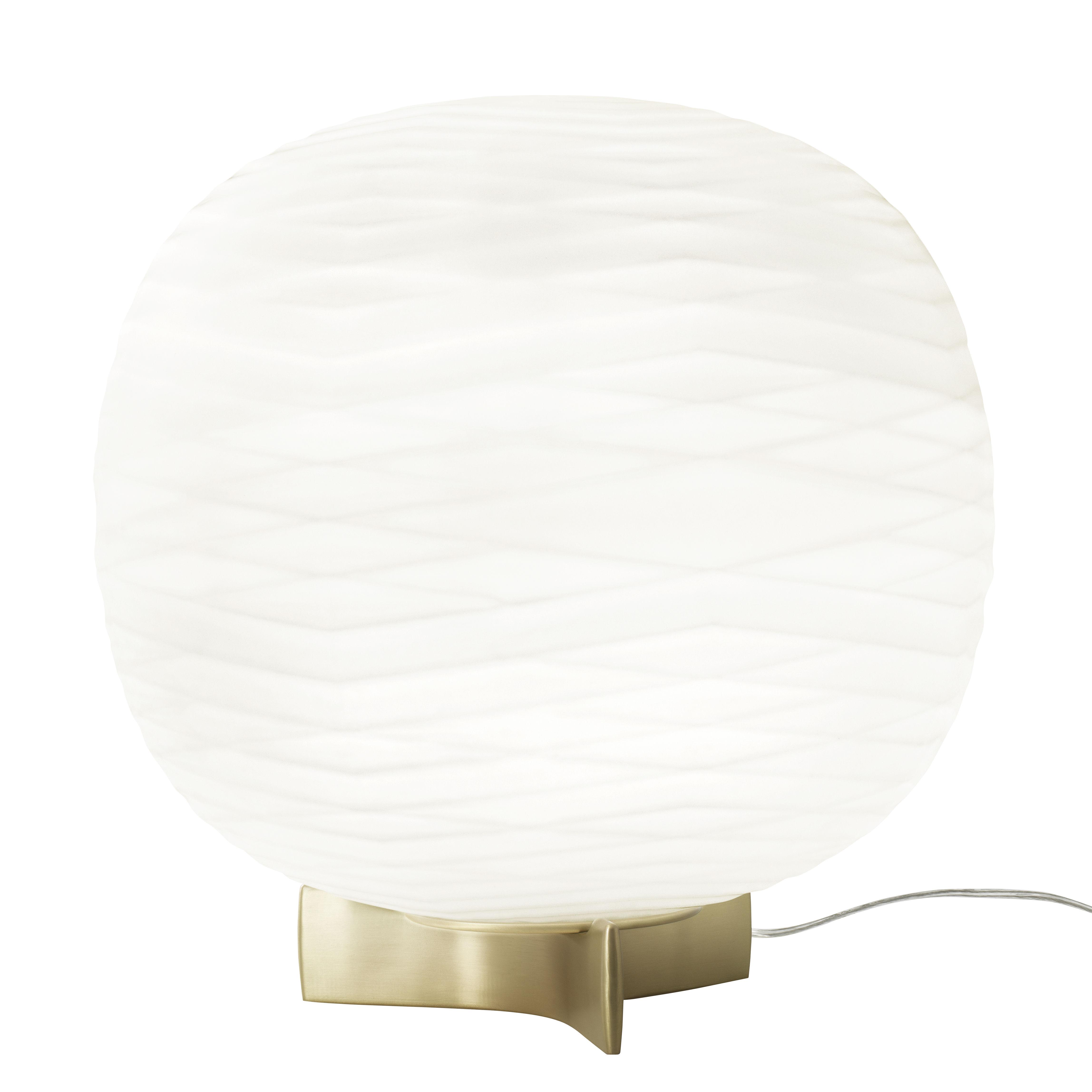 Lighting - Table Lamps - Gem Table lamp - / Blown glass by Foscarini - White / Gold - Aluminium, Blown glass