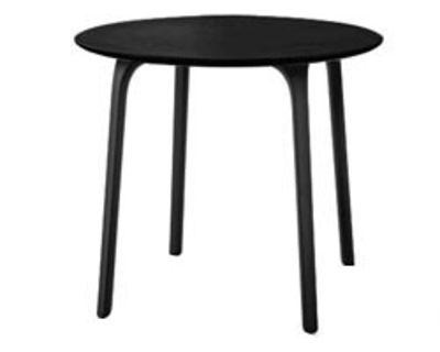 Mobilier - Tables - Table ronde First / Ø 80 - Pour l'intérieur - Magis - Pieds noirs / plateau noir - MDF verni, Polyamide