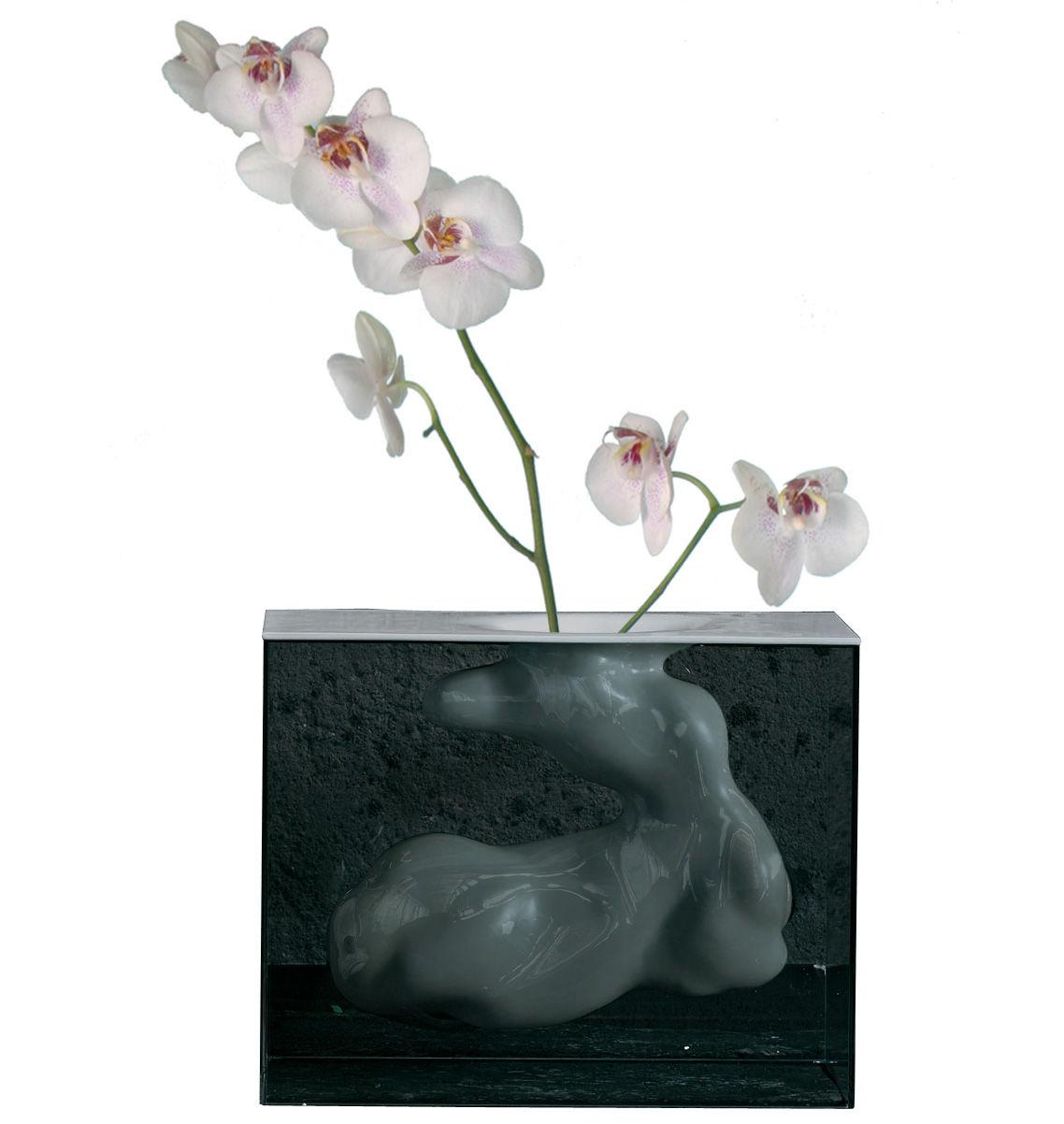 Decoration - Vases - Angela Vase - H 45 cm by Glas Italia - Smoked glass - White - Ceramic, Tempered glass